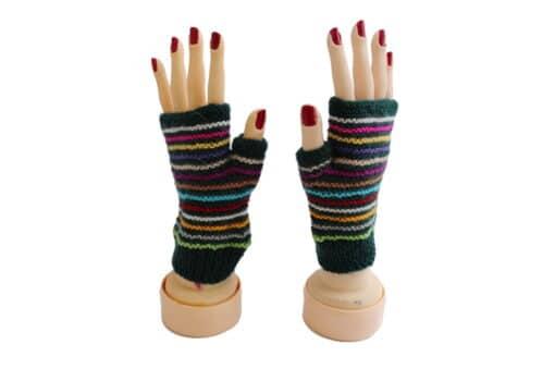 Offene Handschuhe Alpaka, dunkelgrün gestreift