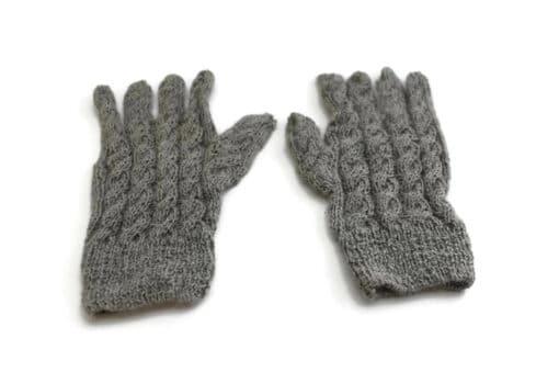 Alpaka Fingerhandschuhe Grau (von oben)