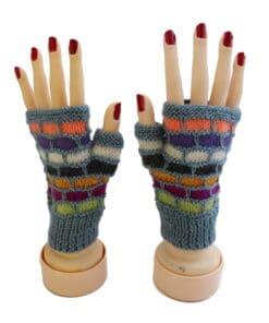 Handgemachte Halb-Handschuhe aus Alpaka, grau blau gestreift, Peru