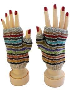 Handgemachte Halb-Handschuhe aus Alpaka, grau bunt gestreift