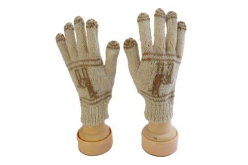 Handgemachte Finger-Handschuhe aus Alpaka, Lama, braun