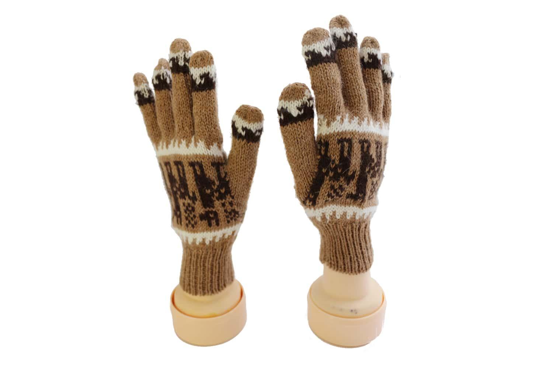 Handgemachte Finger-Handschuhe aus Alpaka, Lama, dunkelbraun, Peru