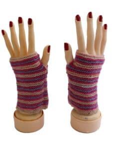 Handschuhe Alpaka, Rosa Violett gestreift