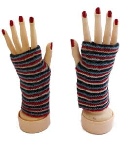 Handschuhe Alpaka, Rot Weiß Blau gestreift