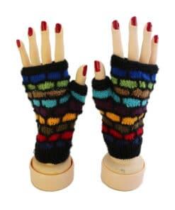 Handgemachte Halb-Handschuhe aus Alpaka, schwarz gestreift, Peru