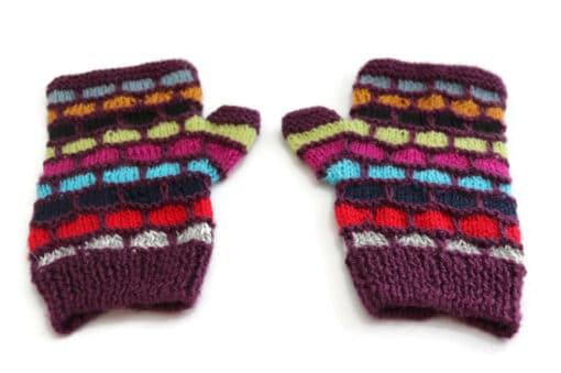 Handschuhe Alpaka, Violett gestreift (Ansicht von oben)