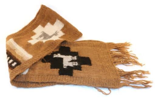 Handgemachter Alpaka Schal, Motiv Lama, braun