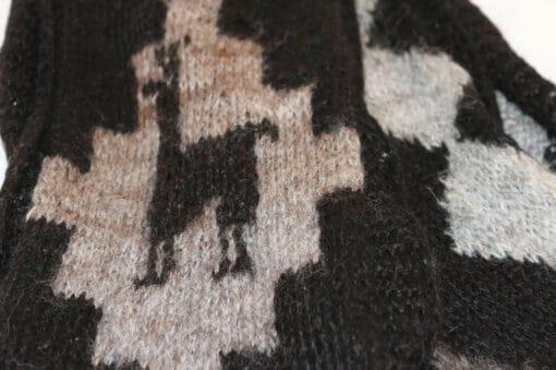 Handgemachter Alpaka Schal, Motiv Lama, schwarz