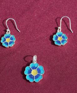 Set Silber-Ohrringe mit Anhänger Blume