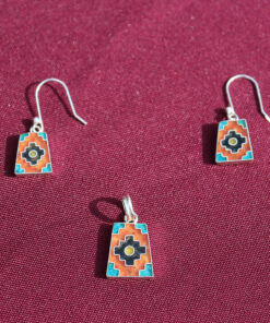 Set Silber-Ohrringe mit Anhänger Inka