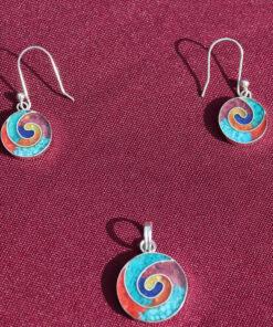 Set Silber-Ohrringe mit Anhänger Schnecke