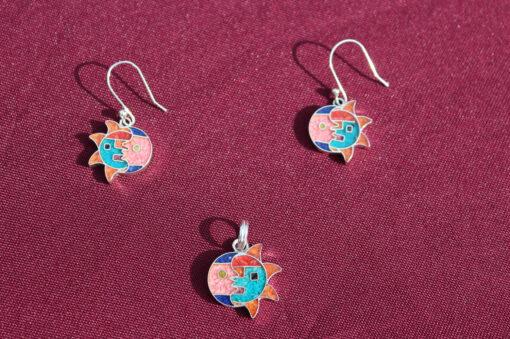 Set Silber-Ohrringe mit Anhänger Sonnenmond