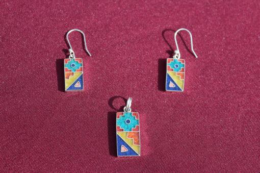 Set Silber-Ohrringe mit Anhänger Trapez mit Chakana