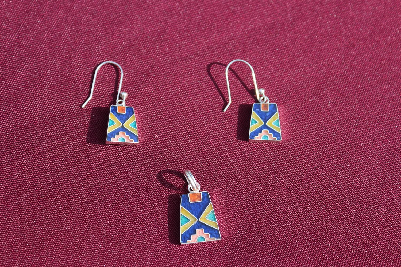 Set Silber-Ohrringe mit Anhänger Titikaka