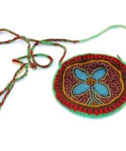 Umhängetasche Shipibo Blüte, klein, rot-grün, Seite 1