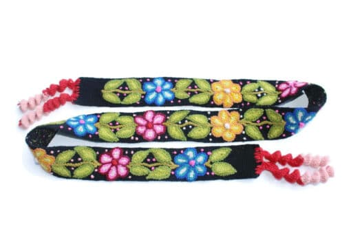 Bestickter Gürtel ohne Schnalle mit Blumenmuster, schwarz
