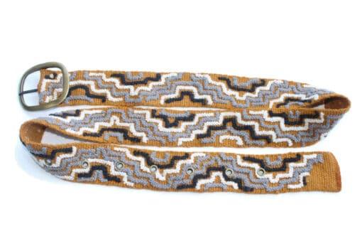 Bestickter Gürtel Inka Pyramide, braun grau