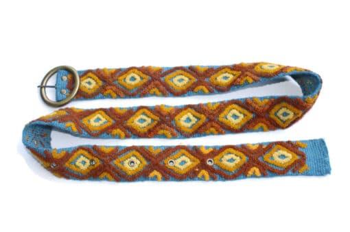 Bestickter Gürtel Karo, blau