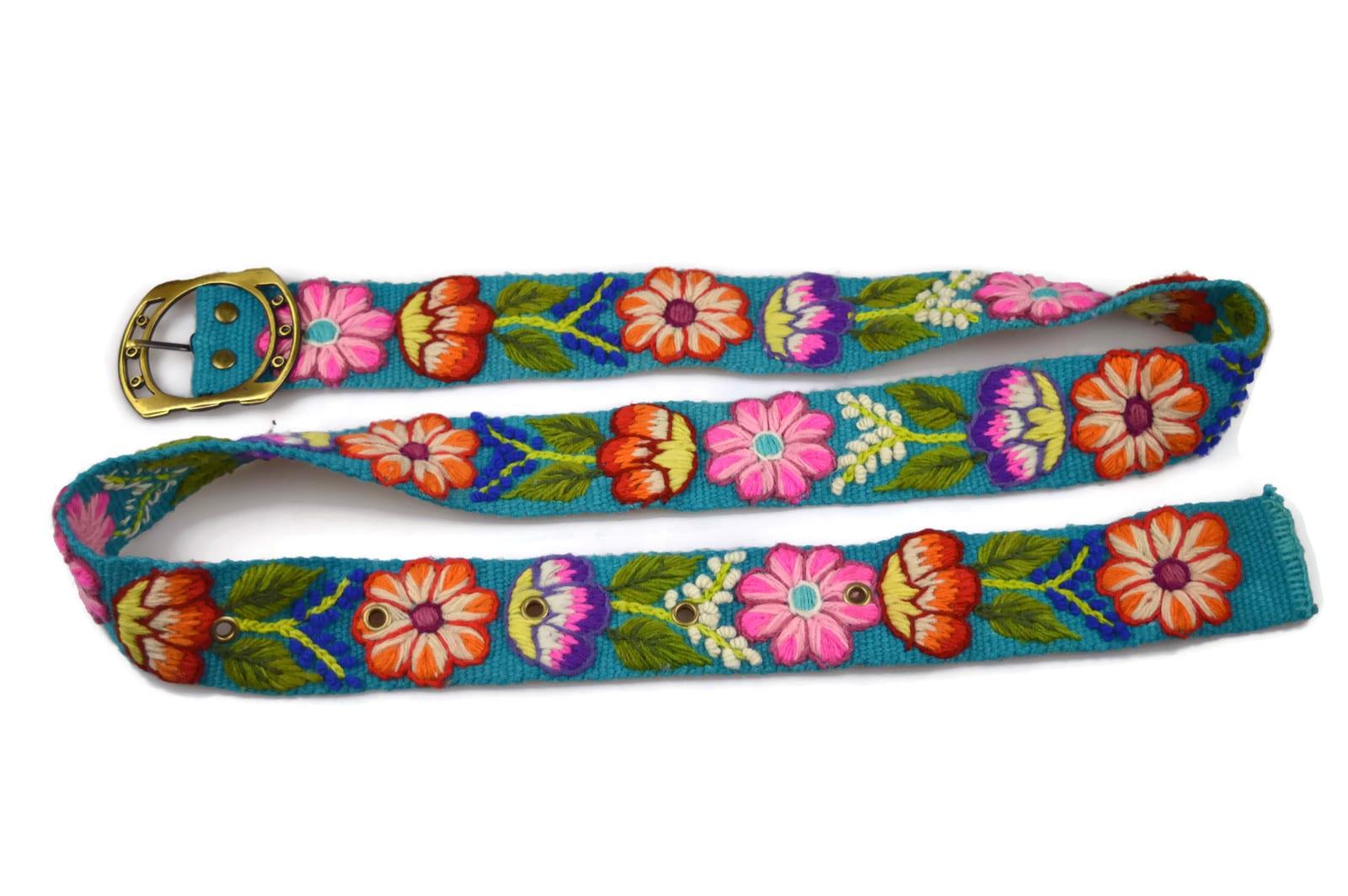 Wollgürtel Feuerblumen, türkis