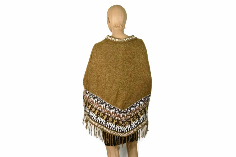 Alpaka Poncho Traditionell braun