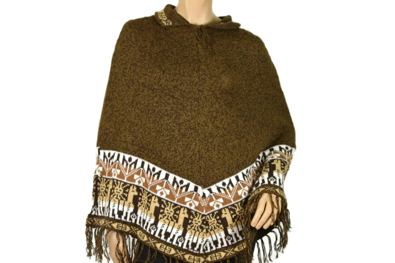 Alpaka Poncho Traditionell dunkelbraun