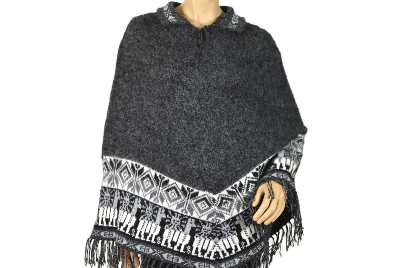 Alpaka Poncho Traditionell dunkelgrau