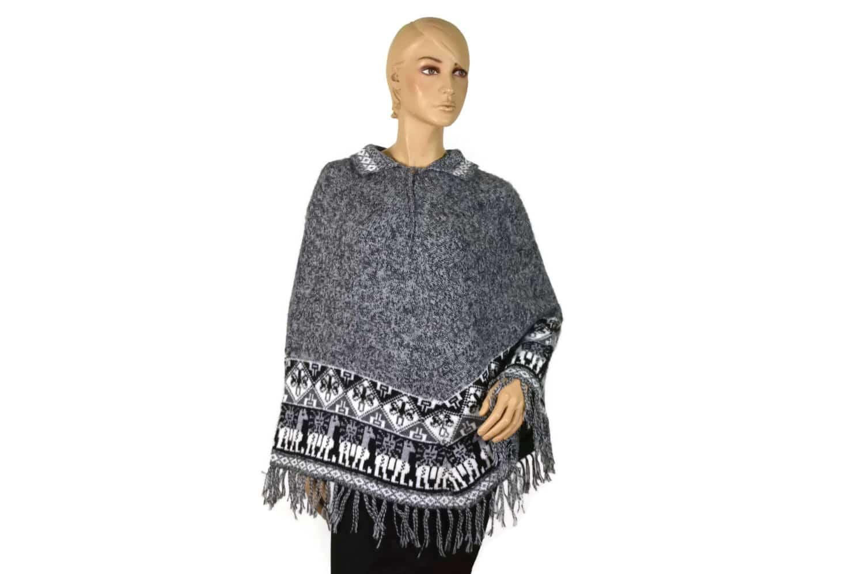 Alpaka Poncho Traditionell grau