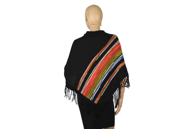 Poncho Regenbogen schwarz