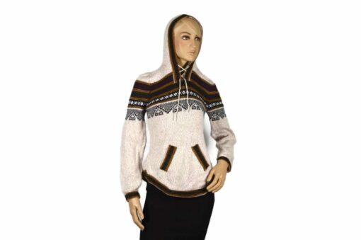 Alpaka Pullover Atahualpa mit Kapuze beige (M)