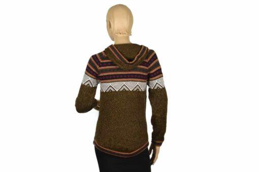 Alpaka Pullover Atahualpa mit Kapuze braun (M)