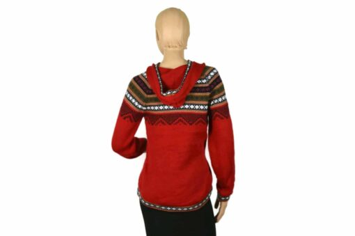 Alpaka Pullover Atahualpa mit Kapuze rot (M)