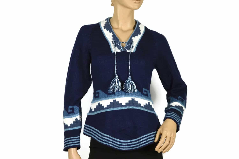 Alpaka Pullover Inkapyramide blau (S)
