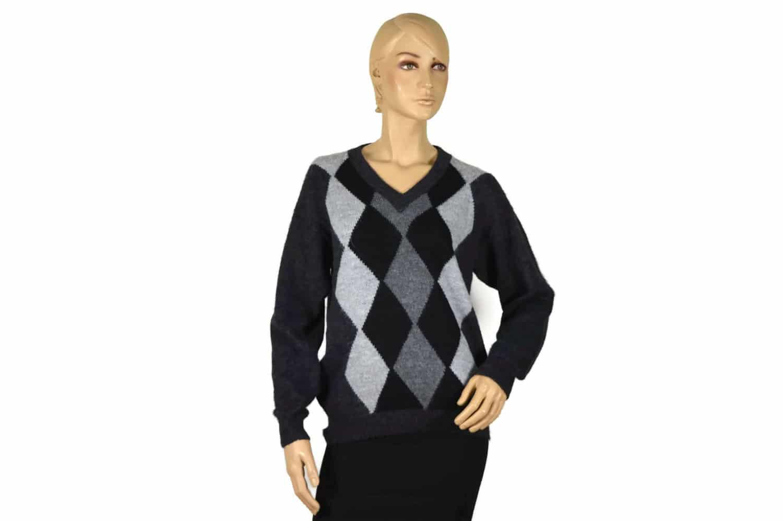 Alpaka Pullover Doble schwarz (M) V-Ausschnitt