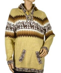 Alpaka Pullover Kapuze beige (L)