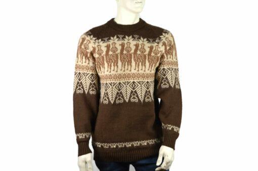 Alpaka Pullover Traditionell braun (L)