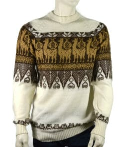 Alpaka Pullover Traditionell weiß-dunkelbraun (L)