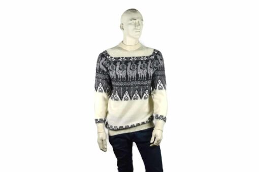 Alpaka Pullover Traditionell weiß-grau (L)