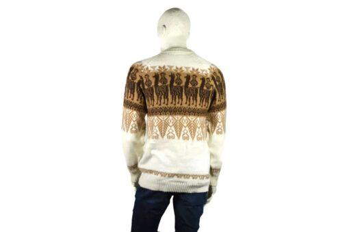Alpaka Pullover Traditionell weiß-braun (L)