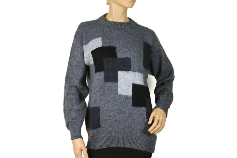 Alpaka Pullover Quadrado grau (M)