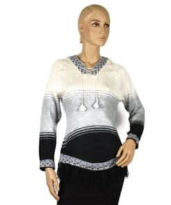 Alpaka Pullover Sinchi Roca weiß-schwarz (S)