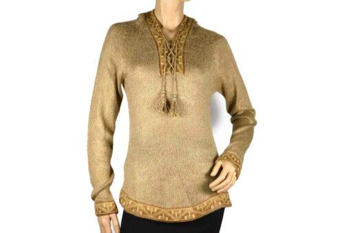 Alpaka Pullover Shakira beige-braun (L) mit Kapuze