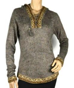 Alpaka Pullover Shakira braun-grau (L) mit Kapuze