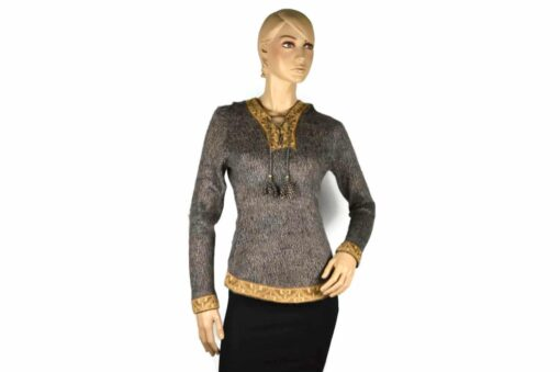 Alpaka Pullover Shakira braun-grau (M) mit Kapuze