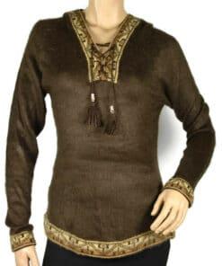 Alpaka Pullover Shakira dunkelbraun (L) mit Kapuze
