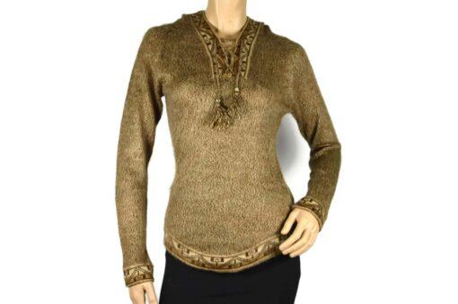 Alpaka Pullover Shakira braun (M) mit Kapuze