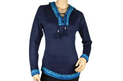 Alpaka Pullover Shakira dunkelblau-blau (M) mit Kapuze