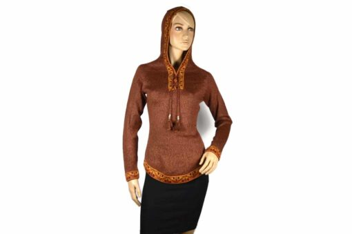 Alpaka Pullover Shakira dunkelrot-braun (M) mit Kapuze