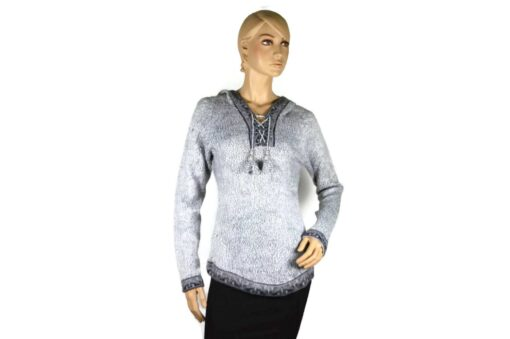 Alpaka Pullover Shakira grau-dunkelgrau (L) mit Kapuze
