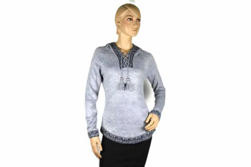 Alpaka Pullover Shakira grau (L) mit Kapuze