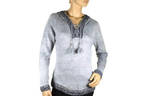 Alpaka Pullover Shakira grau (M) mit Kapuze
